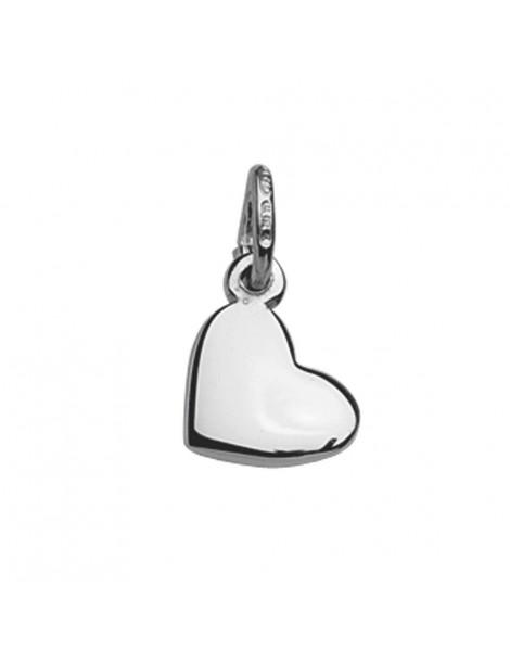 Pendentif petit cœur plein en Argent 925/1000 rhodié