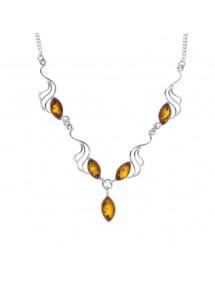 Collier orné de pierres ovales d'ambre avec des vagues argenté 3170515 Nature d'Ambre 104,00€