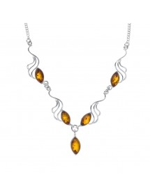 Necklace decorated with oval stones of amber with silver waves 104,00 € 104,00 €