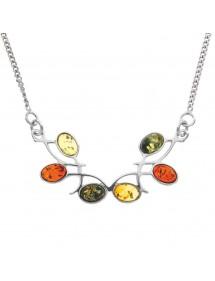 Collier symétrique en argent rhodié orné de pierres en ambre 3170096RH Nature d'Ambre 96,00€