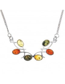 Symmetrical necklace in rhodium silver with amber stones 3170096RH Nature d'Ambre 87,50 €