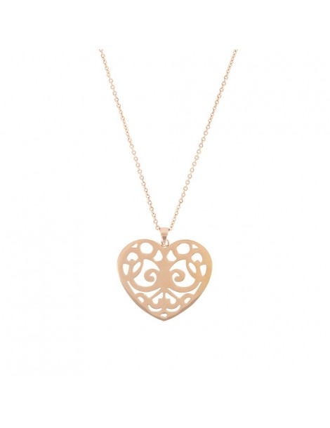 Pink openwork heart shaped necklace 31710264R One Man Show 39,90€
