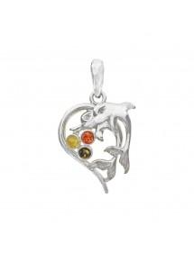Pendentif cœur argent orné de dauphins et de pierres d'ambre 3160830 Nature d'Ambre 49,90€