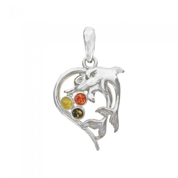 Pendentif cœur argent orné de dauphins et de pierres d'ambre 49,00€ 34,30€