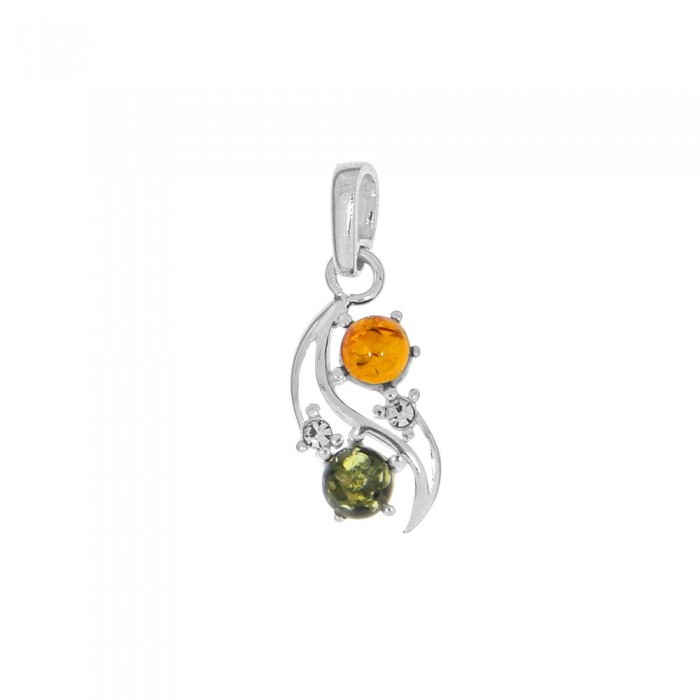 Openwork pendant with rhodium silver frame and amber round stones 3160844RH Nature d'Ambre 36,90€