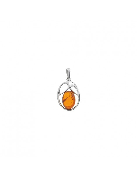 Openwork pendant in rhodium silver and amber 31610231RH Nature d'Ambre 62,00 €