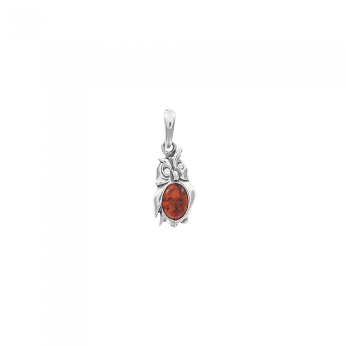 Pendant silver owl rhodium and amber 31610238RH Nature d'Ambre 39,90 €