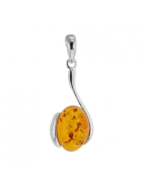 "Pendant ""hook"" amber and rhodium silver 31610296RH Nature d'Ambre 59,90 €"