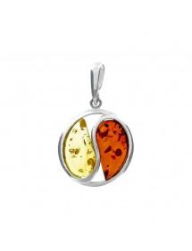 Pendentif rond en argent avec 2 pierres en ambre 3160490 Nature d'Ambre 64,00€