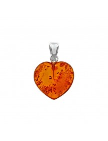 Grand pendentif cœur en ambre et argent 3160510 Nature d'Ambre 49,90€