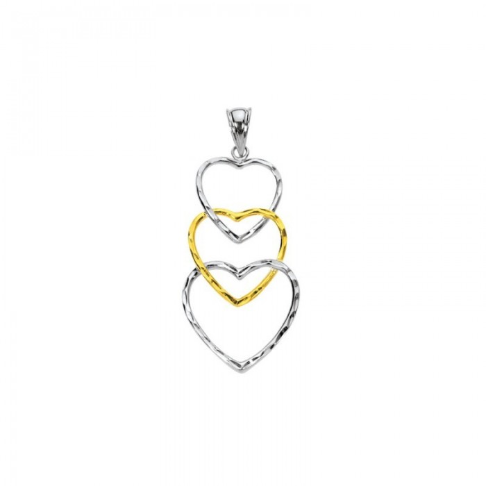Pendentif 3 cœurs bicolore Argent et Plaqué Or 39,90€ 24,90€