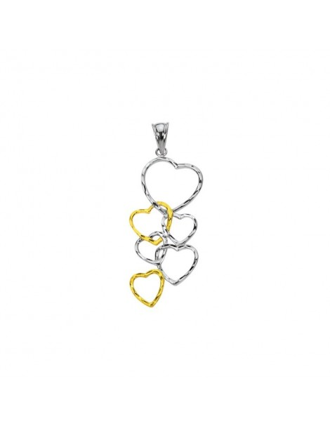 Two-tone heart pendant in rhodium-plated silver and gold plated 3160383 Laval 1878 34,90 €