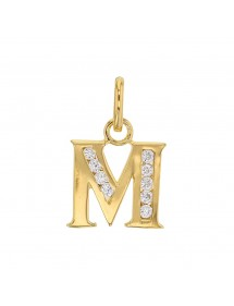 Initial pendant in gold plated and zirconium oxides - Letter M 23,00 € 23,00 €