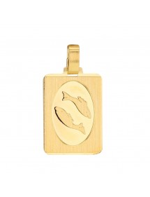 Gold Plated Zodiac Sign Rectangle Pendant - Pisces 3260225 Laval 1878 34,90 €