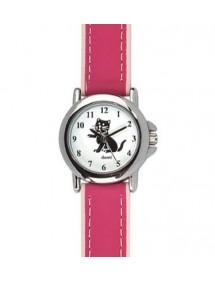 Montre pédagogique DOMI, motif chat, bracelet synthétique rose 754896 DOMI 32,90€