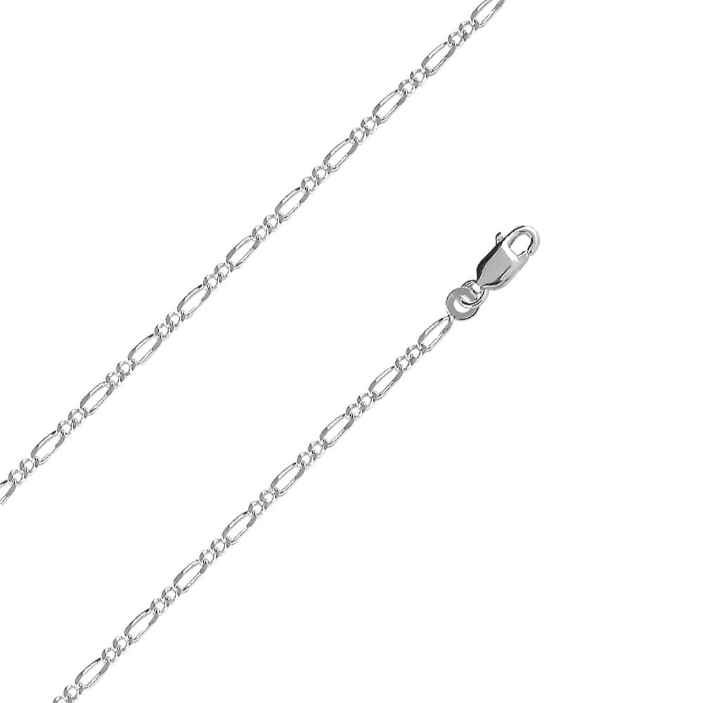 ae002f806efb Cuello de cadena de doble hilera de figaro de plata