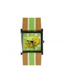 "Watch Looney Tunes ""Tweety"" - Bracelet cloth Green / beige 756637 Looney Tunes  25,00 €"