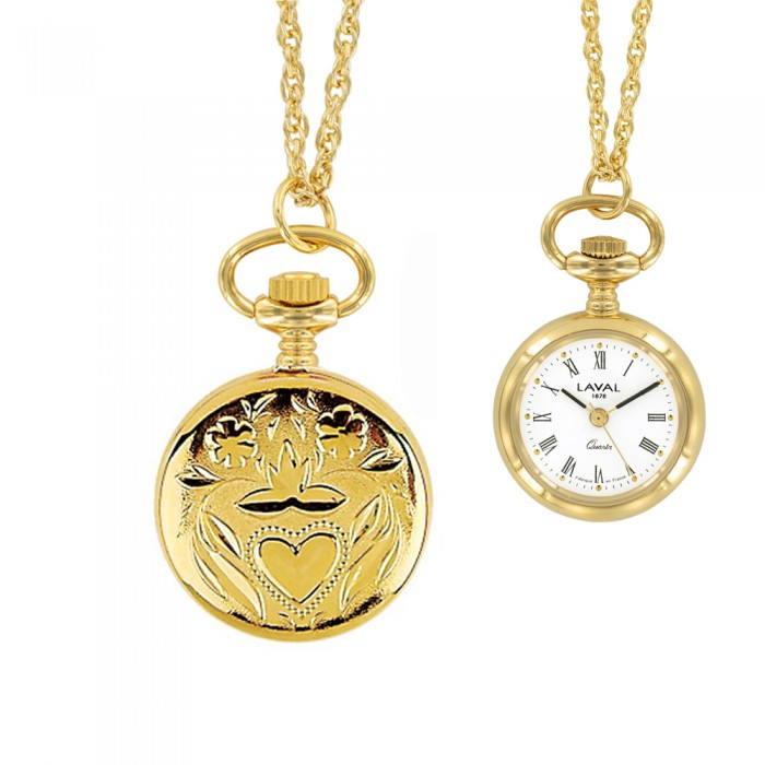 Golden Palladium Pendant Watch With Roman Numerals And Heart 9900 EUR