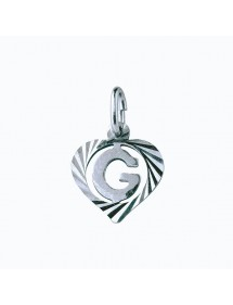 Sterling silver pendant encircled by a chiseled heart - initial G 9,90€ 9,90€