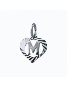 Pendentif en argent massif encerclé par un cœur ciselé - initiale M 886912 Laval 1878 9,90€