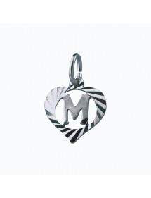Sterling silver pendant encircled by a chiseled heart - initial M 9,90€ 9,90€