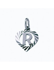 Sterling silver pendant encircled by a chiseled heart - initial R 9,90€ 9,90€