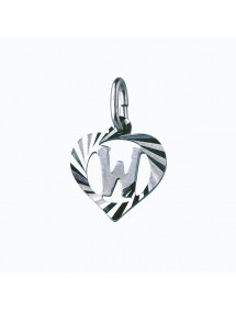 Sterling silver pendant encircled by a chiseled heart - initial W 9,90€ 9,90€