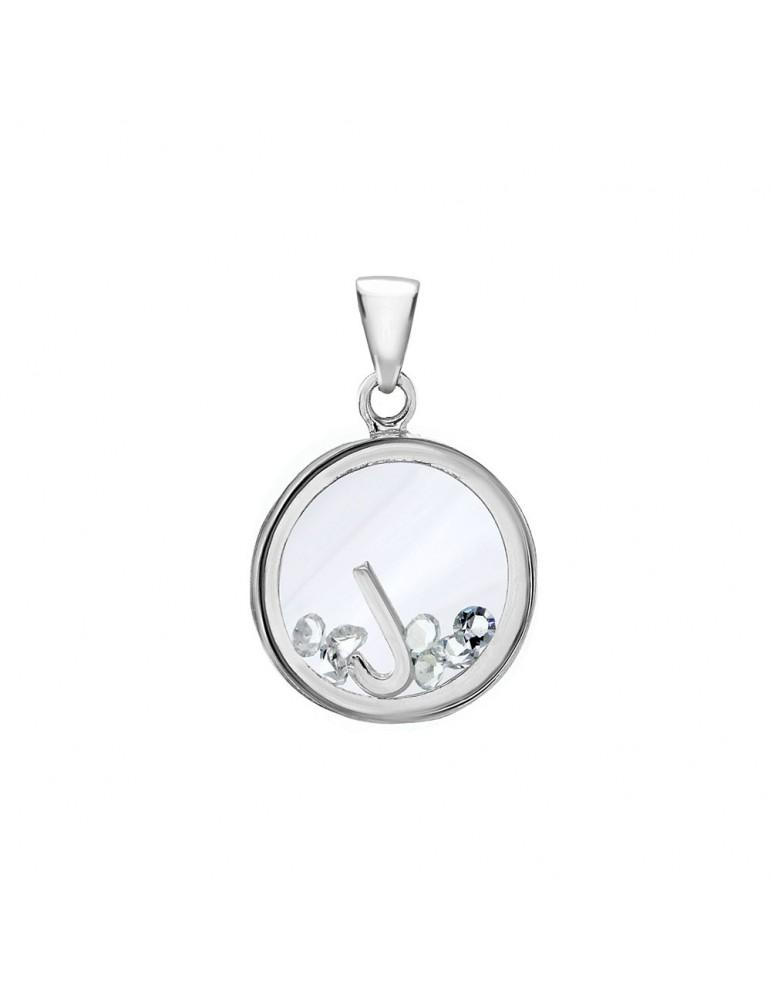 Pendentif lettre dans un rond avec des oxydes de zirconium - Lettre J 36,00€ 36,00€
