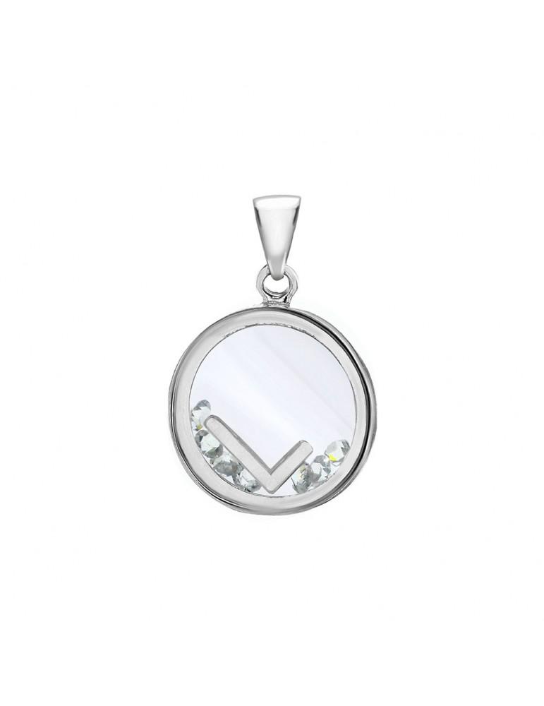 Pendentif lettre dans un rond avec des oxydes de zirconium - Lettre L 36,00€ 36,00€