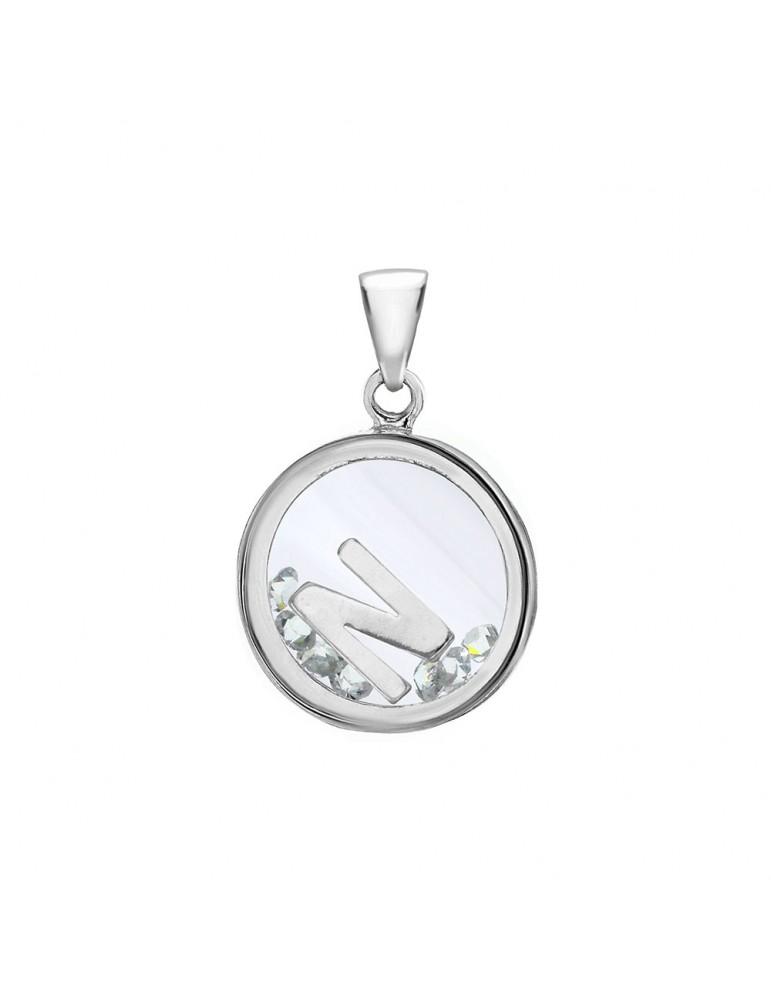 Pendentif lettre dans un rond avec des oxydes de zirconium - Lettre N 36,00€ 36,00€