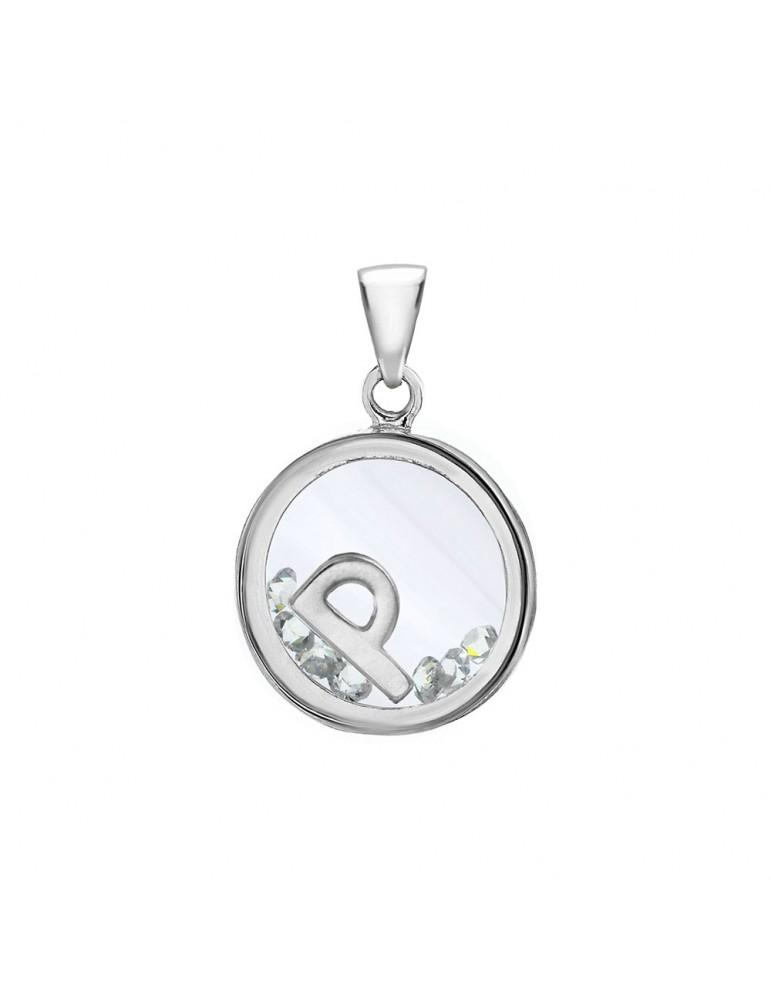 Pendentif lettre dans un rond avec des oxydes de zirconium - Lettre P 36,00€ 36,00€