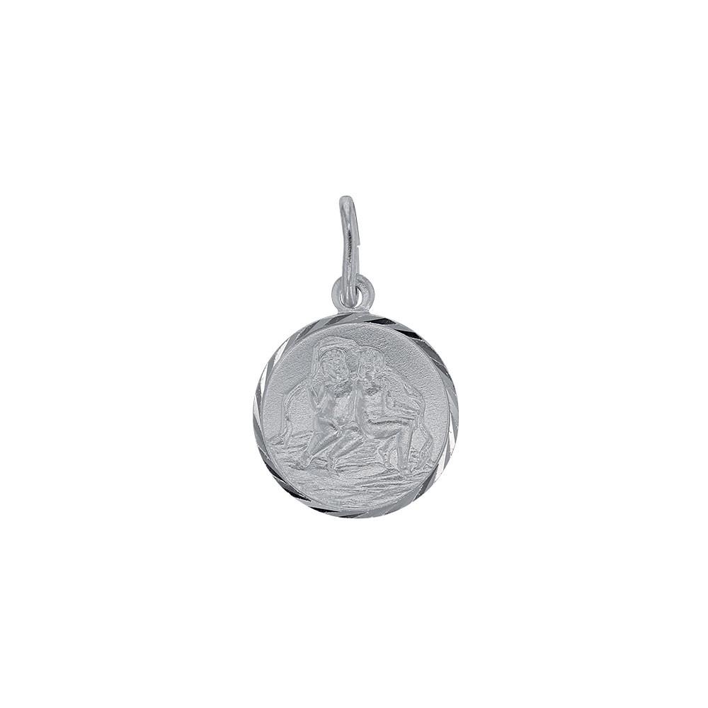 Pendentif Zodiaque GEMEAUX en argent rhodi/é