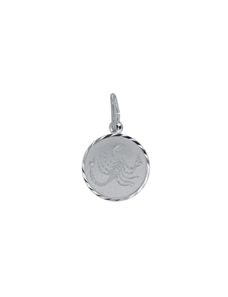 Pendant Zodiac sign Scorpio striated round rhodium silver 31610377 Laval 1878 19,90€