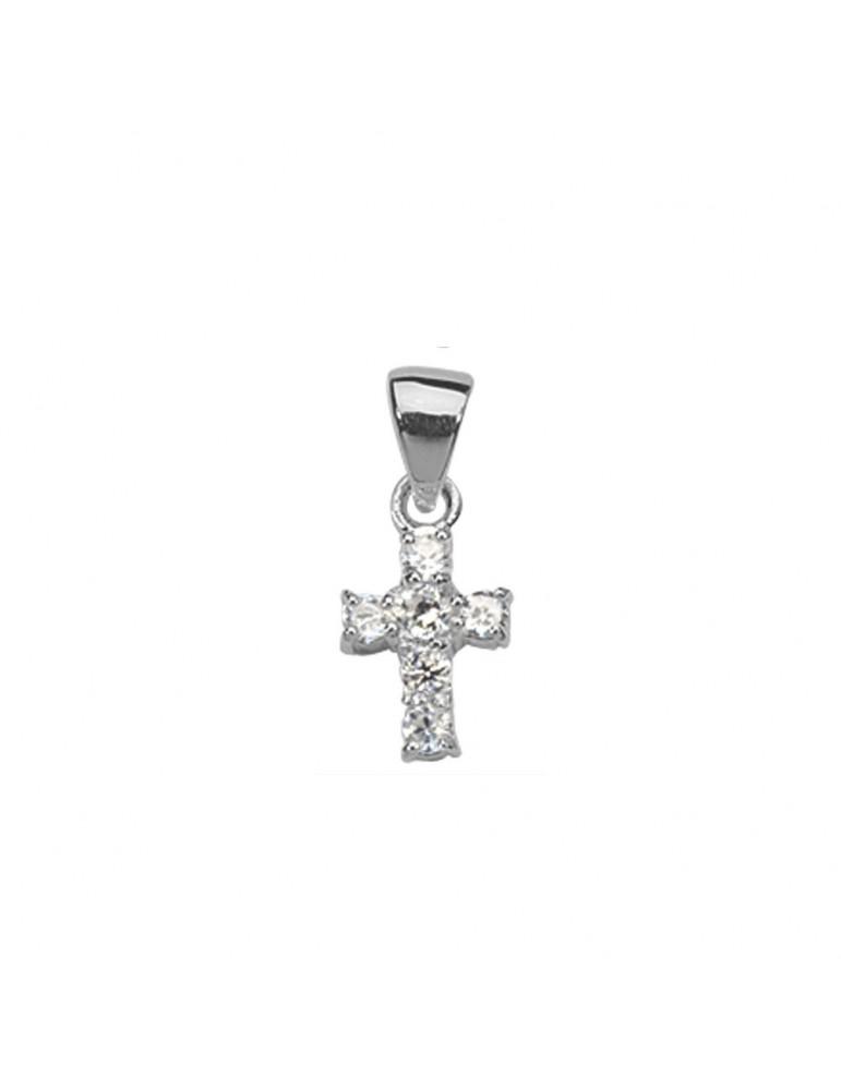 Pendentif petite Croix en argent massif et oxydes de zirconium 3160285 Laval 1878 24,00€