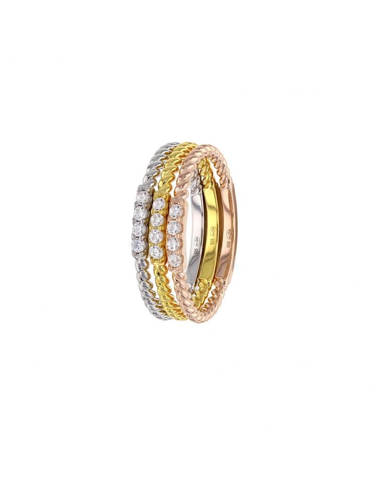 Bague formée de 3 anneaux en argent tricolore serti d'oxydes 311348 Laval 1878 86,00€