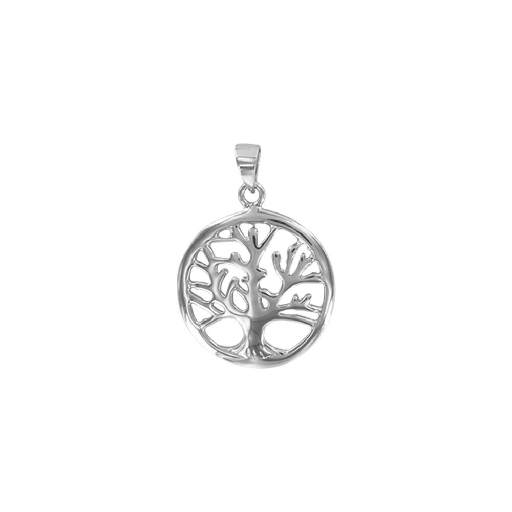 """Pendentif /""""arbre de vie/"""" dans un cercle en argent rhodié"""