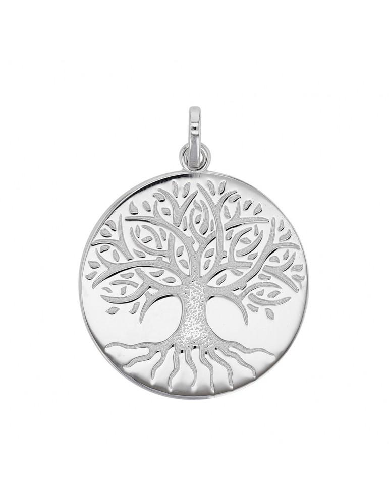Colgante árbol De La Vida Grabado En Rodio Plateado