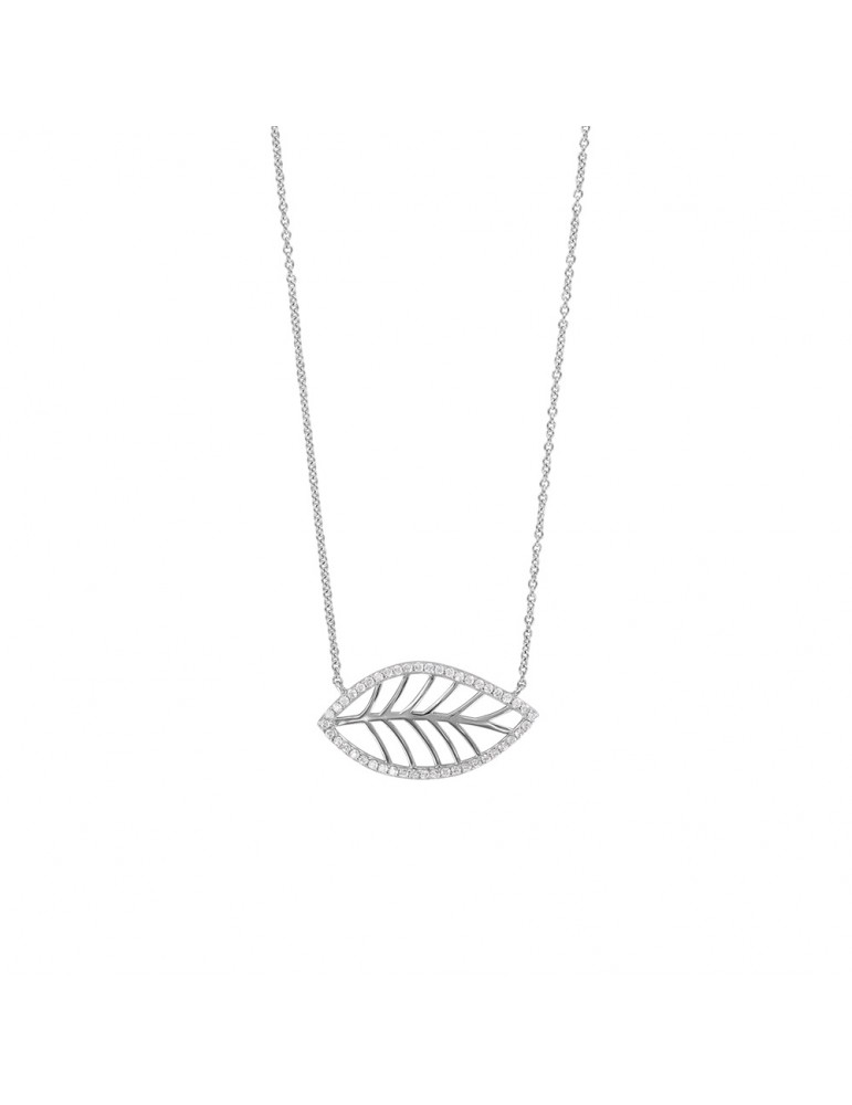 """Necklace """"Graphic leaf"""" in rhodium silver and zirconium oxides 31710307 Laval 1878 62,00€"""