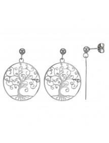 """Boucles d'oreilles """"arbre de vie"""" ajouré en argent rhodié 3131606 Laval 1878 42,00€"""