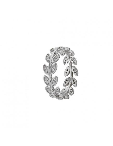 Anello foglia in argento rodiato con ossidi di zirconio 311572 Laval 1878 58,00€