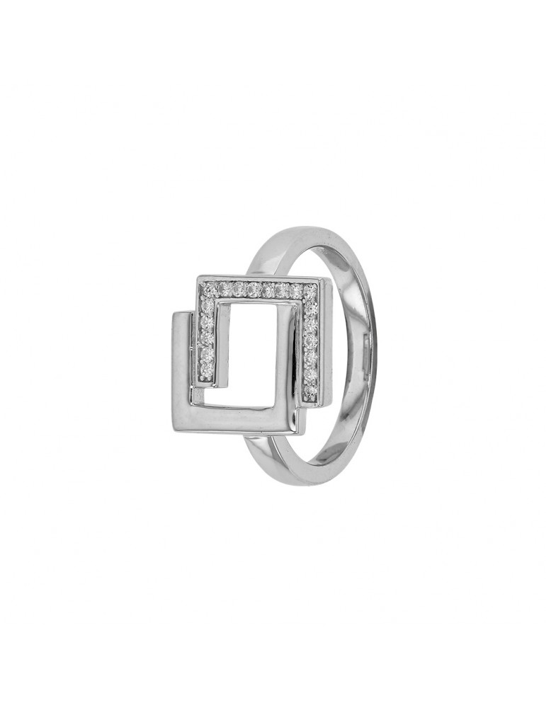 """Ring """"nested squares"""" rhodium silver and zirconium oxides 311310 Laval 1878 63,00€"""