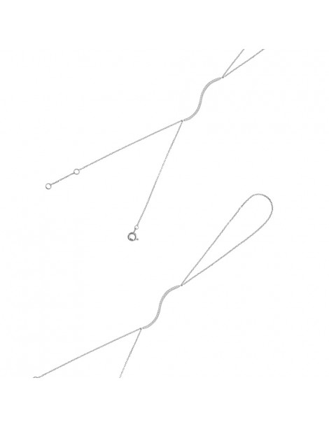 Bracelet rhodium silver ring wavy pattern with zirconium oxide 318226 Laval 1878 44,00€