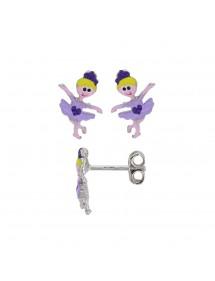 Boucles d'oreilles danseuse avec cœur violet en argent rhodié 19,90€ 19,90€
