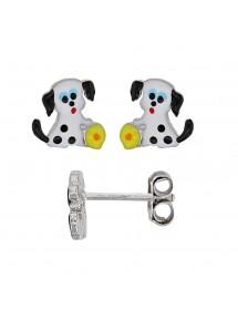 Boucles d'oreilles chien blanc et noir avec balle jaune en argent rhodié 30,00€ 30,00€