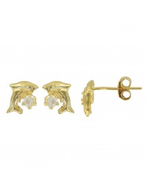 Gold plated earrings with dolphin decorated with zirconium oxides 3230149 Suzette et Benjamin 34,00€