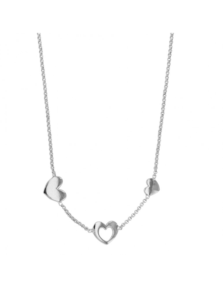Children's necklace with three hearts in rhodium silver 62,00 € 62,00 €