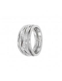 Ampio anello in argento rodiato con effetto tessuto plissettato 311577 Laval 1878 79,90€