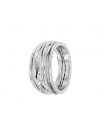 Wide rhodium silver ring with pleated fabric effect 311577 Laval 1878 79,90 €