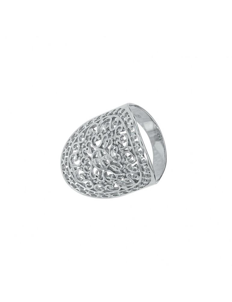 Bague ovale ajourée forme Arabesque en argent rhodié 54,00€ 54,00€
