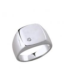 Anello con sigillo in argento rodiato con ossido di zirconio 84,00€ 84,00€